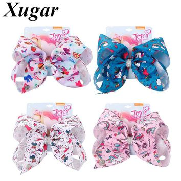 8'' Large Printed Unicorn Hair Bows for Girls Rainbow Rhinestone Hair Clips Kids Boutique Gift Card Hair Accessories