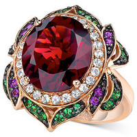 Le Vian 14k Rose Gold Garnet (7-5/8 ct. t.w.) and Multi-Stone Round Flower Ring