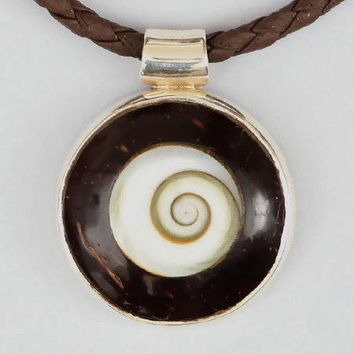 Coconut And Silver Spiral Pendant - Tribal Jewelry - Tribal Spiral Jewelry - Shiva Eye Jewelry - Wood Jewelry - Carved Wooden Spiral
