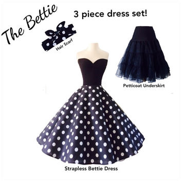 3 Piece Dress Set, The Bettie Strapless ROCKABILLY black and white Polkadot dress and Hair Scarf, with Petticoat Underskirt, Casual Wedding