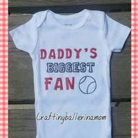Daddy's Biggest Fan Sports Onesuit - Any Sport - Father's Day Outfit - Baby Boy Baby Girl - Softball - Basketball - Football - Soccer - First