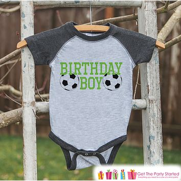 Boys Birthday Outfit - Soccer Birthday Boy Shirt or Onepiece - Youth, Toddler, Baby Birthday Outfit - Grey Baseball Tee - Kids Baseball Tee