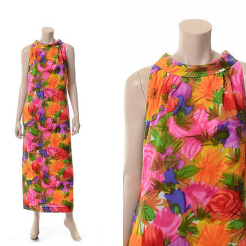 Vintage 60s Kiyomi Iolani Hawaiian Dress 1960s Tropical Rainbow Watercolor Floral Scarf Neck Boho Hippie Hawaii Tiki Party Luau Maxi Dress