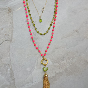Hot Pink Beaded Necklace Peridot Bohemian Rosary Very Long Pendant Necklace Boho Chic Tassel Necklace Gold Green Stone Quatrefoil