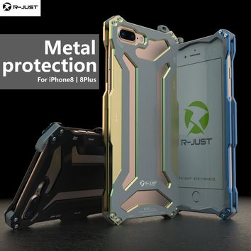 Original R-JUST Metal Aluminum Silicone Bumper for iPhone 8 Anti-Knock Shockproof Metal Phone Cases For iPhone 8 plus case