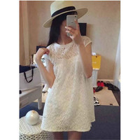 LORI home lace short-sleeved dress Sling