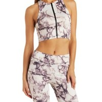 Purple Caged Marble Print Zip-Up Crop Top by Charlotte Russe