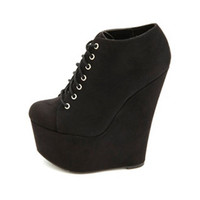 LACE-UP MEGA PLATFORM WEDGE BOOTIES