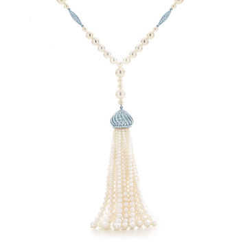 Tiffany & Co. - The Gatsby Collection tassel pearl necklace in platinum with diamonds.