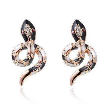 Bejeweled Snake Earrings Rose Gold