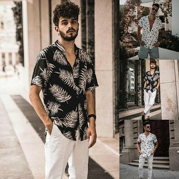 New Fashio Men's Short Sleeve Turn Down Leisure Shirt Print Beach Shirts Holiday Summer Hawaiian Casual Tops