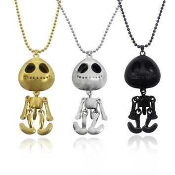 Fashion Steampunk Skeleton Alien Extraterrestrial Pendant Necklaces Star Wars Hollow Robot Long Necklace Beads Choker Jewelry