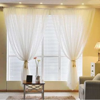 1Pair White Sheer Voile Curtains Home Window Decoration