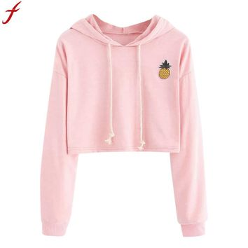 Hoodie Cropped Sweatshirt Women 2018 Fashion Women Applique Pinapple Sweatshirt Autumn Long Sleeve Pullover Tops Sudaderas Mujer