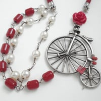 Handmade Unique Modern Necklace-Wirewrapped Pearls and Red Beads-Silver Old Fashion Bicycle-Red Wax Linen Cord with Sliding Knots