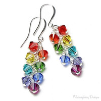 Rainbow Fiesta Swarovski Crystal Earrings by whimsydaisydesigns