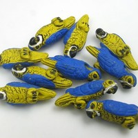 4 Tiny Yellow and Blue Parrot Beads
