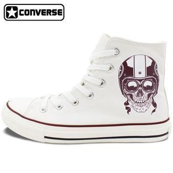 men women s new converse all star shoes skull on the motorbike high top white canvas s
