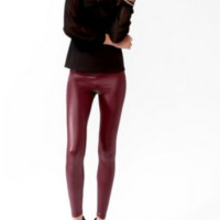 Coated Faux Leather Leggings - Red