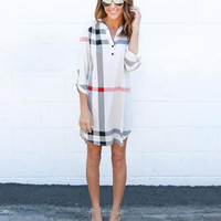 3/4 Sleeve V-Neck Irregular Plaid Shirt Dress 13241