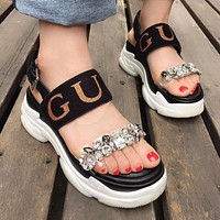 GUCCI New Summer Women Water Drill Platform Shoes Thick Sole Sandal Shoe Black I12300-1
