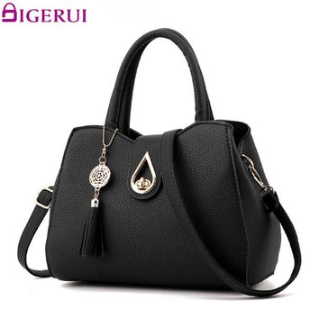 DIGERUI New Fashion Women Handbag Tassel High Quality PU Leather Totes Bags Brief Women Shoulder Bag Ladies Bags A915/Z