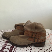 Slouchy Taupe Ankle Booties (Small/Indie Brands)