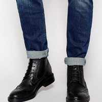 Base London | Base London Brocket Leather Brogue Boots at ASOS