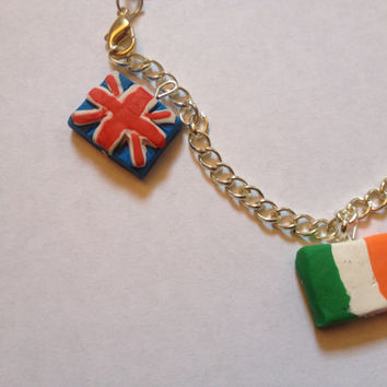 British And Irish Flag Bracelet by BluWatermelonDesigns on Etsy