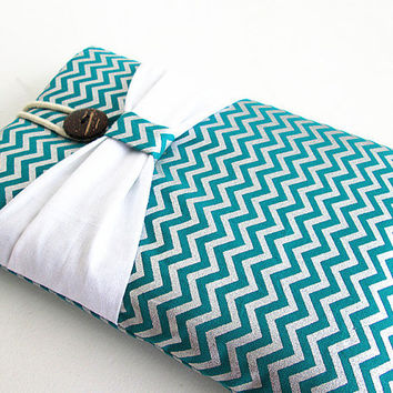 Chevron Ipad mini case, Ipad mini cover, Ipad mini sleeve with bow- Teal and silver.