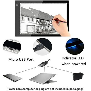 Mucgew Ultra-thin LED Light Box Tracer, A4, microUSB, Dimmable Brightness
