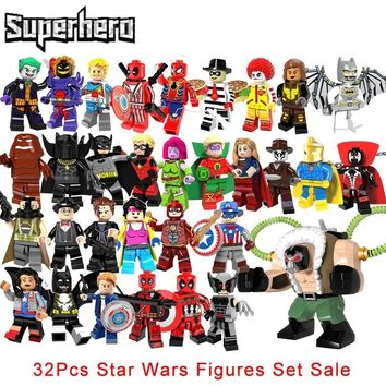 Star Wars Force Episode 1 2 3 4 5 32Pcs/lot super hero Legoinglys Big Bane Wolverine Deadpool  The Flash Green Lantern Supergirl Spawn Building Blocks AT_72_6