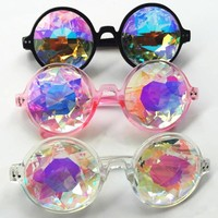TSHING Fashion Round Colorful Kaleidoscope Sunglasses Women Men Celebrity Party Designer Eyewear Unique Kaleidoscope Glasses