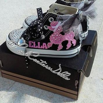 DCCK1IN pink poodles in paris theme posh custom converse