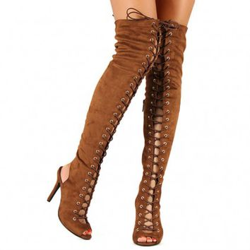 Tan Thigh high Lace-up Boots