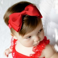 Red double tuxedo bow headband on a soft stretchy band or clip - 63 color choices - Your Final Touch Hair Accessories