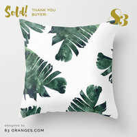 'Banana Leaf Watercolor Pattern' Throw Pillows ~ Sold! #society6 by 83oranges.com | Society6