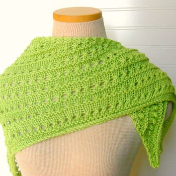 Lace Shawl Scarf in Green Apple Lime by WindyCityKnits on Etsy