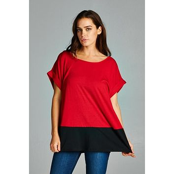 Womens Black & Red Color Block Oversized Top