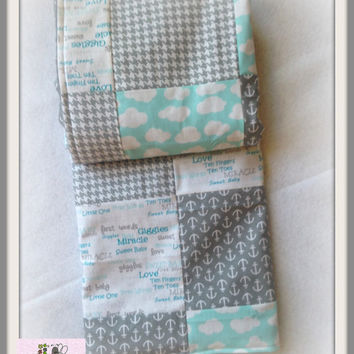 Baby Boy Blanket Square and Simply Cute  , Baby Boy Quilt, Nursery Blanket , Baby Shower Gift , Minky Boy Blanket