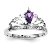 Sterling Silver Teardrop Amethyst and Diamond Crown Ring