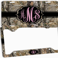 Pink Camo Black License Plate Frame Monogrammed Car Tag Personalized Custom