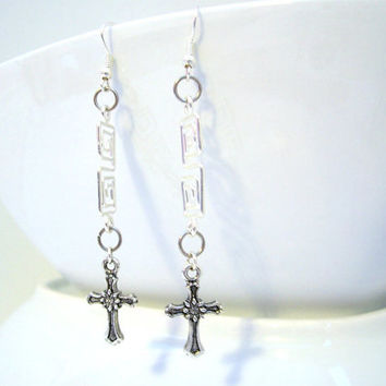 Metal Cross Earrings, Christian Jewelry, Dangle Earrings, Silver Jewelry, Metal Cross Jewellery, Gifts for Women