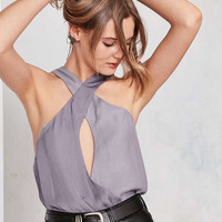 Silence + Noise Satin Contrast Cross-Front Cami - Urban Outfitters