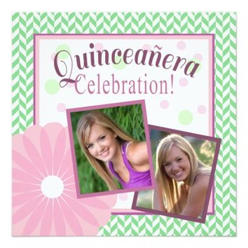 Quinceanera Party Invitation | Pink and Green