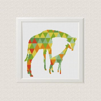 Geometric giraffe Cross Stitch pattern baby, modern pattern, giraffe Pattern, jungle Animals, baby Cross Stitch PDF