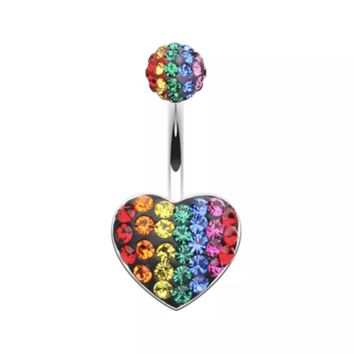 14g 316L Surgical Steel Rainbow Rhinestone Heart shaped Belly Button Ring