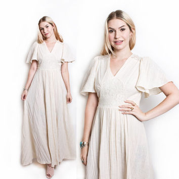 Vintage 70s Dress - Cotton Gauze White Lace Crochet Maxi Hippie Boho Dress - Small