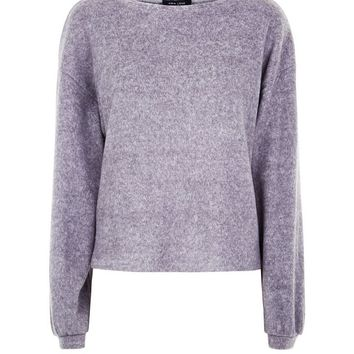 Grey Fine Knit Baloon Sleeve Sweater | New Look