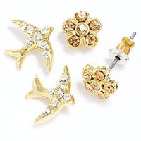 LC Lauren Conrad Gold Tone Simulated Crystal Flower and Bird Button Stud Earring Set